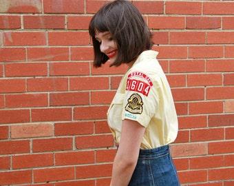 Vintage 1960s Boy Scout Shirt / Den Mothers Uniform Boy Scouts of America / Button Up / 1960s Official Shirt / / S/M