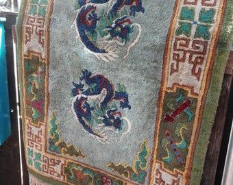 Vintage Tibetan Dragon Wool Rug