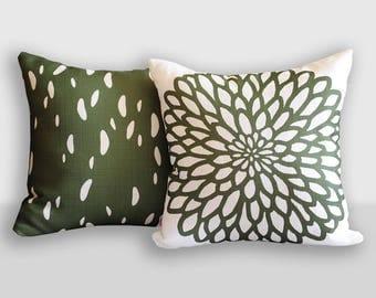 Sample SALE Green Pillow Covers 16x16, Dark Green and Off White Throw Pillows, Toss Pillows, Floral Pillow, Decorative Pillows Mix and Match