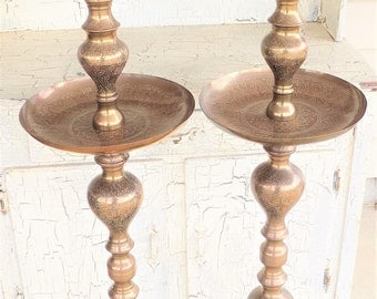 """Tall Brass Pillar Candle Holders, Set of 2,  42"""" Tall Etched Brass, Floor Candle Holders, Church, Wedding, Foyer, Patio"""