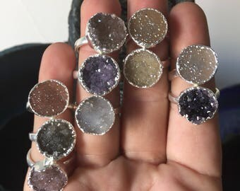 Natural Druzy Rings - Silver or Gold Plated - Adjustable