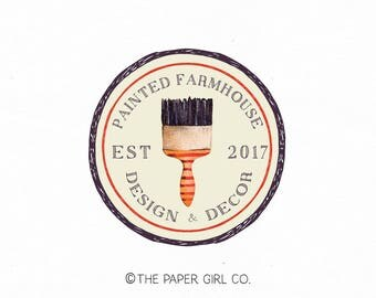 paint brush logo vintage logo design refurbished furniture logo paint shop logo artist logo art teacher logo art classes logo premade logo