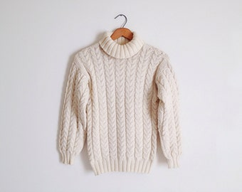 Vintage 80s Cream Chunky Cable Knit Turtleneck Sweater Oversized Fisherman Sweater Preppy Minimal Jumper Small
