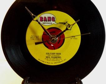 "Recycled NEIL DIAMOND 7"" Record • Solitary Man • Record Clock"