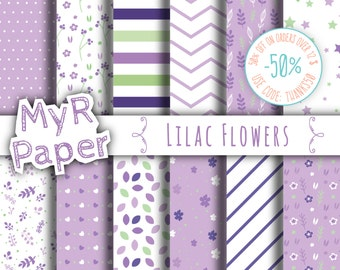 "Lilac Digital Paper: ""Lilac Flowers"" pack of backgrounds with floral, leaves, stars and hearts"