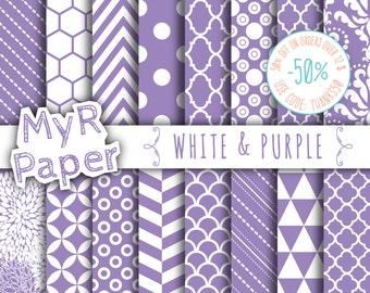 """SALE 50% Purple Digital Paper: """"White & Purple"""" Digital Paper Pack and Backgrounds with Chevron, Damask, Triangles, Stripes and Polka Dots"""