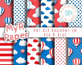 "Hot Air Balloons Digital Paper: ""Red & Blue"" patterns for scrapbooking, invite, card – perfect for vintage project and baby shower"