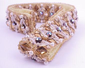 50s Aurora Borealis Glamour Belt // 1950s Bridal Sash XS/S // Burlesque Pin-up Performer Dancer Gatsby