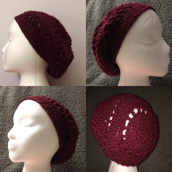 Crochet hat, burgundy womens crochet hat, lightweight slouchy beanie