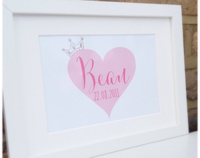 Personalised childrens print | Heart & crown | Custom print | Nursery decor | Wall art | Available in any colour.