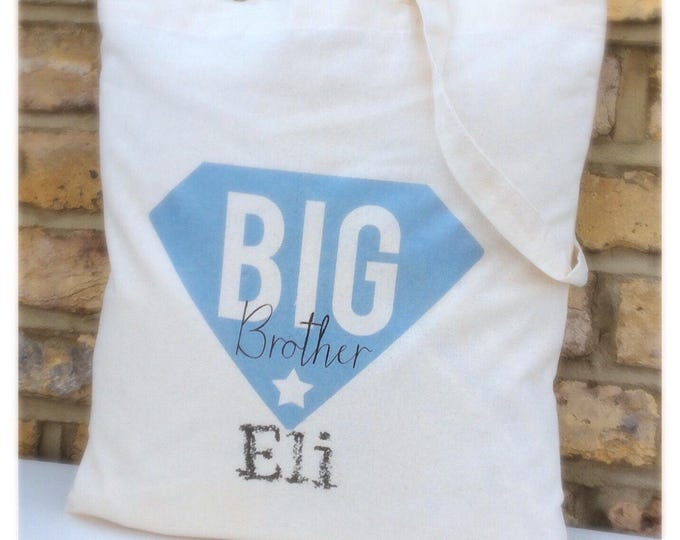 Personalised tote Bag or drawstring bags available in any colour, Superman design, Big brother bag, cotton tote bag. Children's gift.