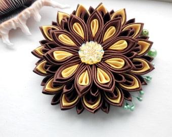 Kanzashi hair clip/Kanzashi fabric flower/Best friend Birthday