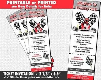 Go Kart Racer Ticket Invitation, Printable With Printed Option, Go Kart  Theme, Go