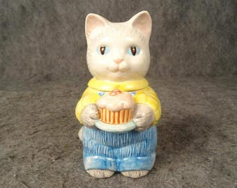 Avon Cat Figurine With Cupcake C. 1991