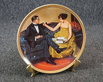 Edwin Knowles Flirting in the Parlor Collectors Plate by Norman Rockwell c. 1983
