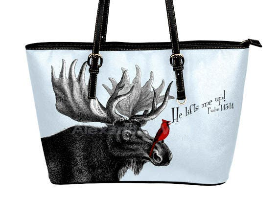 Christian Purses - Bible Verse Handbag - Moose and Cardinal Purse - He Lifts Me Up Gifts - Bible Tote Back - Moose Bird Purse