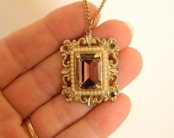 Ornate Large Gold Tone Square Pendant with Amethyst Foil Back Rhinestone/Pearls  Chain Necklace