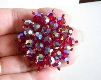 Beautiful Red Swarovski Aurora Borealis Crystal Pin Brooch