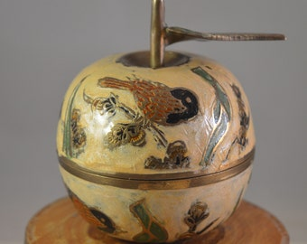 Vintage brass,enamel apple Jewelry Storage ,decor