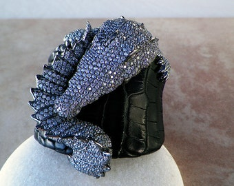 SPECTACULAR Large Sterling Silver 3D Pave Real Alligator Leather Cuff Bracelet