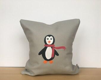 Penguin pillow, Christmas pillow cover, holiday pillow, Christmas pillow, custom pillow, canvas pillow, throw pillow, housewarming gift