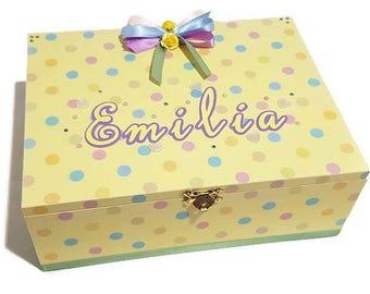Personalised Baby Keepsake Box, Trinket Box, Treasure Box, Memory Box, Wooden Box, Baby Box - Neutral Yellow
