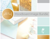 Gold Blog Images, Goldleaf and mint stock photography, moodboard bundle