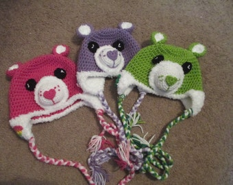 Crocheted Inspired Care Bear Hats-Dress up-- Costume-- All Carebears Characters Available--All Sizes