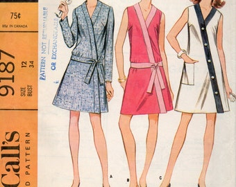 McCalls 9187, 1960s Sewing Pattern Vintage Misses, Size 12, Dress Four Versions, Wrapped Front, Sleeveless Mod, Long Sleeves, Complete Unct
