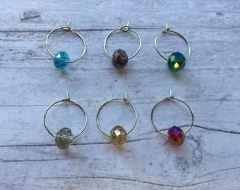 Wine charms, Rainbow wine charms, glass bead wine charm, colorful wine charm