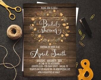 Fall Bridal Shower Invitation, Rustic Bridal Shower Fall, Fall in Love Invitation, Bridal Shower Printable, Autumn Bridal Shower Invitation