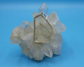 Natural Golden Rutilated Quartz Vintage Pendant.