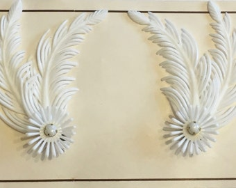 Vintage Deadstock White Double Feather & Daisy Clip On Earrings