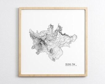 Broken Top Oregon Art Print - Topographic Map