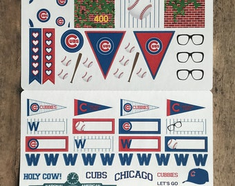 CHICAGO CUBS PLANNER stickers for ECLPs, Life Planners, and Scrapbooks