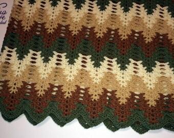Vintage Afghan Handmade Crochet Blanket Throw 53 In by 50 In Brown, Tan, Cream and Green