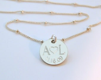 Initial Necklace • Custom Initials • Valentines Day Gift • Engraved Disc • Couples Necklace • Anniversary Date • Wedding Date [18-201]
