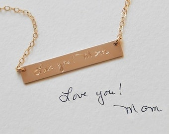 Handwriting Necklace • Actual Signature • Handwritten Jewelry • Memorial Handwriting • Gold Silver Rose Gold Necklace • Minimal Necklace