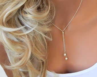 Wedding Necklace • Bridal Necklace • Bridesmaid Jewelry • Lariat Necklace • Pearl Lariat • Beaded Pearl Waterfall Necklace • [520]