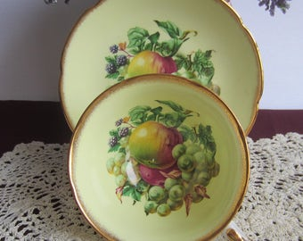 Royal Grafton by A.B.Jones 1805 Light Yellow with Fruit,Brushed Gold Edge Wide Mouth Bone China Cup and Saucer