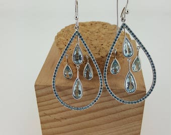 Blue Diamond and Aqua Marine Dangle Earrings