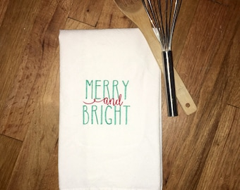 Merry and Bright Kitchen Towel | Christmas Towel | Christmas Kitchen Deco | Teacher Gift