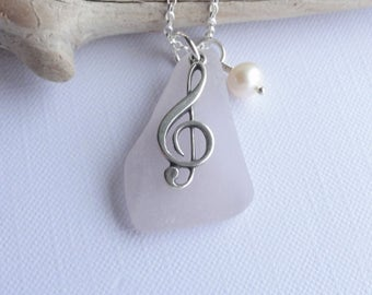 Pink Scottish Sea Glass and Sterling Silver Treble Clef Necklace - Sea Glass from Scotland - Music Note