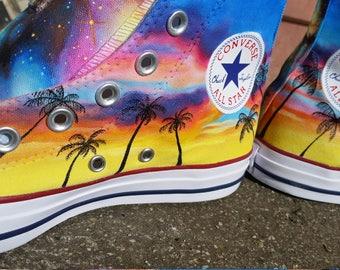 Converse All Star Hi custom landscape handpainted sneakers