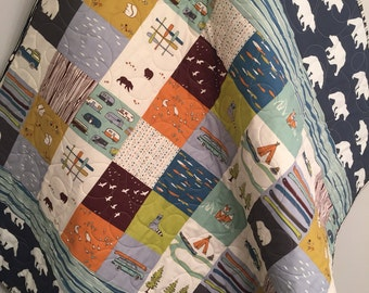 Woodland Baby Quilt, Organic Baby Quilt, Rustic Baby Quilt, Baby Bedding, Crib Bedding, Nursery Quilt, Bear, Fishing, Camping, Fox, Navy
