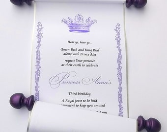 Purple and Silver Royal Princess Birthday Invitation, bday invite scroll, fairytale birthday party invitation, set of 10