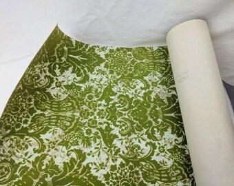 Vintage Flocked Wallpaper Olive Green Floral Pattern 1 yard