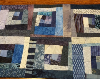 Fabric Placemat, Blue. Pieced, Quilted