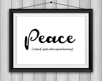 Definition Peace Printable Poster 8x10