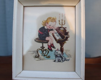 Vintage Art Card Of Child Playing Piano Wood Glass Frame